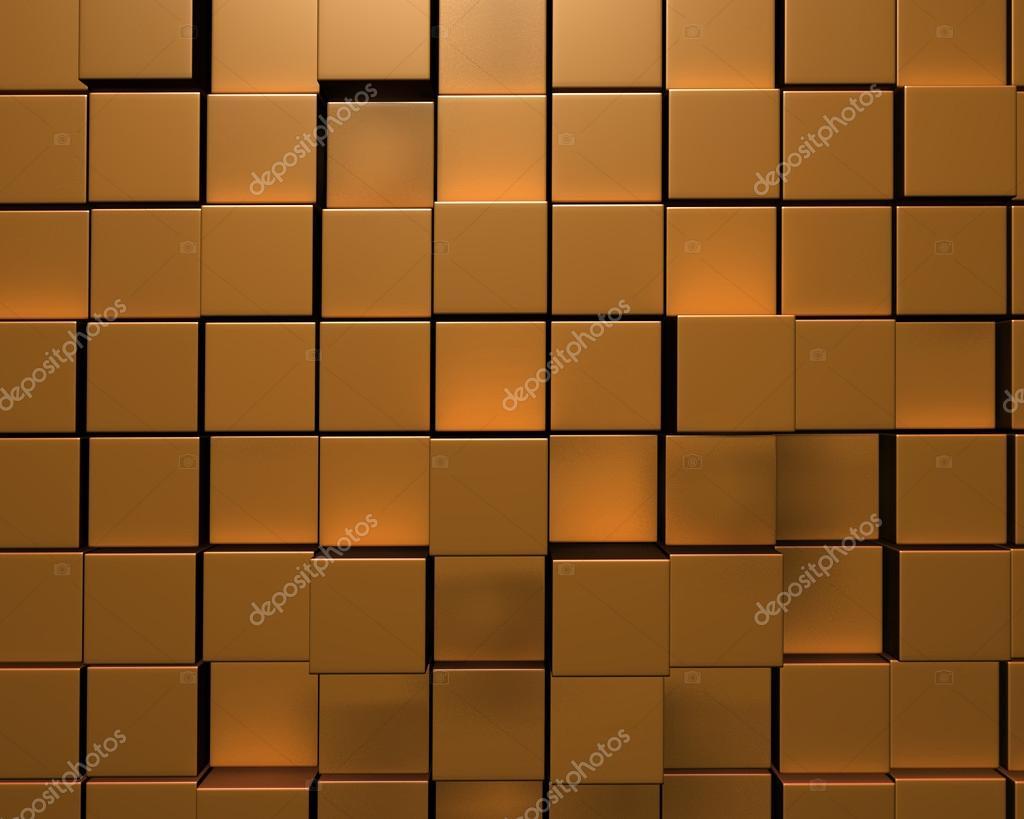 Rendering d della parete irregolare tessere d oro u foto stock