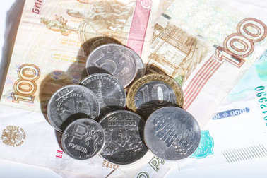 Russian rubles in coins and paper denominations