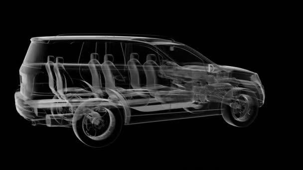 smyčka auto otočit. viditelné motoru a převodovky Převodovka