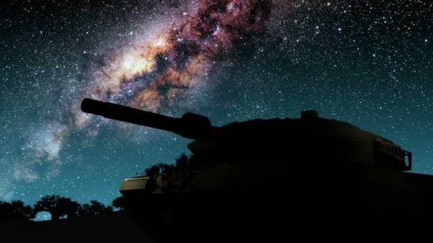 tank a hvězdy Mléčné dráhy v noci. Prvky tohoto obrázku jsou podle Nasa