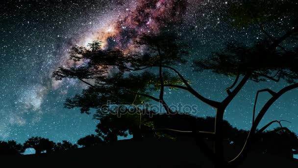 stromy a hvězdy Mléčné dráhy v noci. Prvky tohoto obrázku jsou podle Nasa