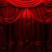 Fotografie red velvet curtain opening the scene