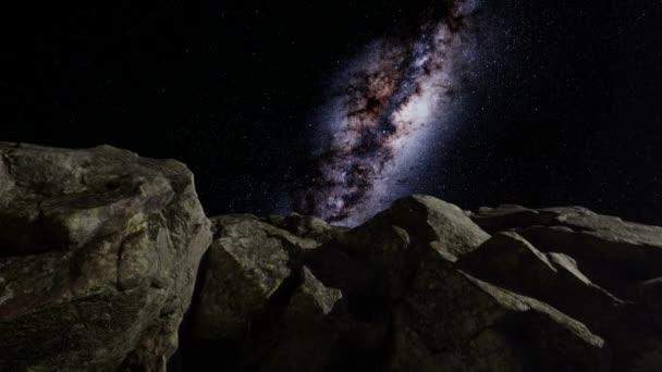 4K asztrofotográfia csillag pályák felett homokkő kanyon falak.