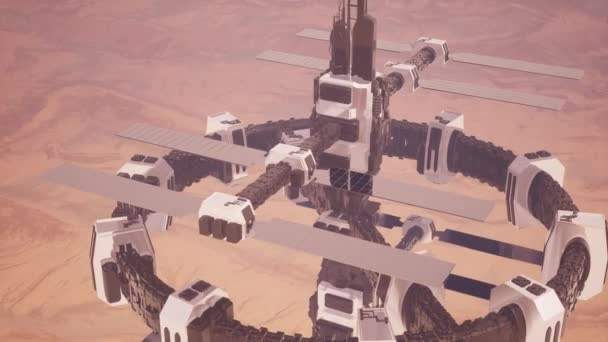 Colony on Mars like red planet, sci-fi animated