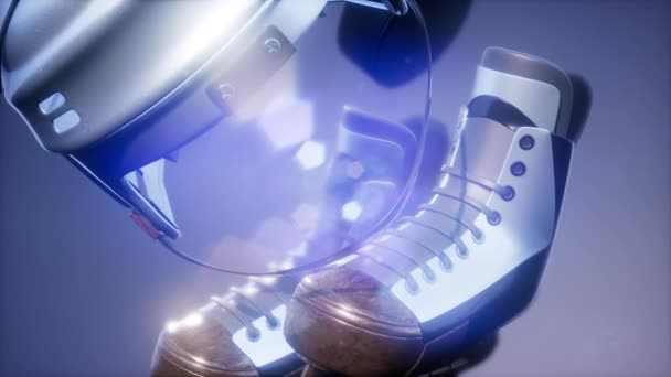 4k Super zpomalené letící hokejový puk a hokejové vybavení