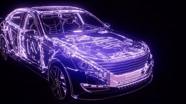 Holografické animace 3d drátový model auta s motorem