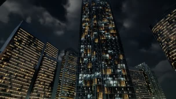 Glass Skyscrpaer Office Buildings with dark sky