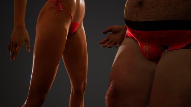 Fett Mann und sexy Frau posiert im Studio