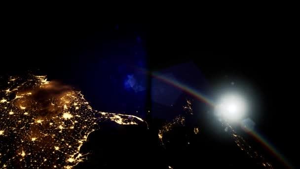 Űr, Nap és Föld bolygó éjjel