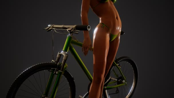 Sexy woman in swimsuit with bike