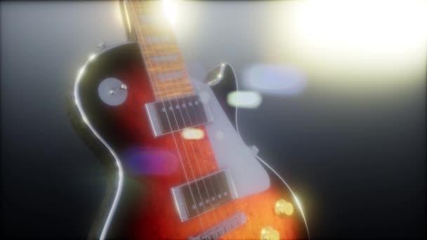 elektrická kytara ve tmě s jasnými světly