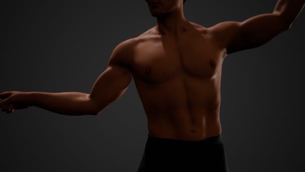 Fešák svalnatý bez trička mladý muž stojící ve tmě