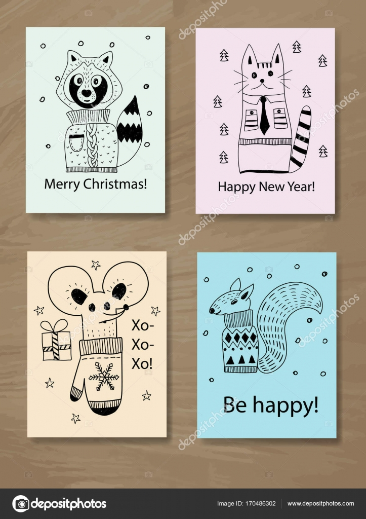 Weihnachtskarten Tiere.Weihnachtskarten Mit Doodle Tiere Stockvektor Makarova Alex