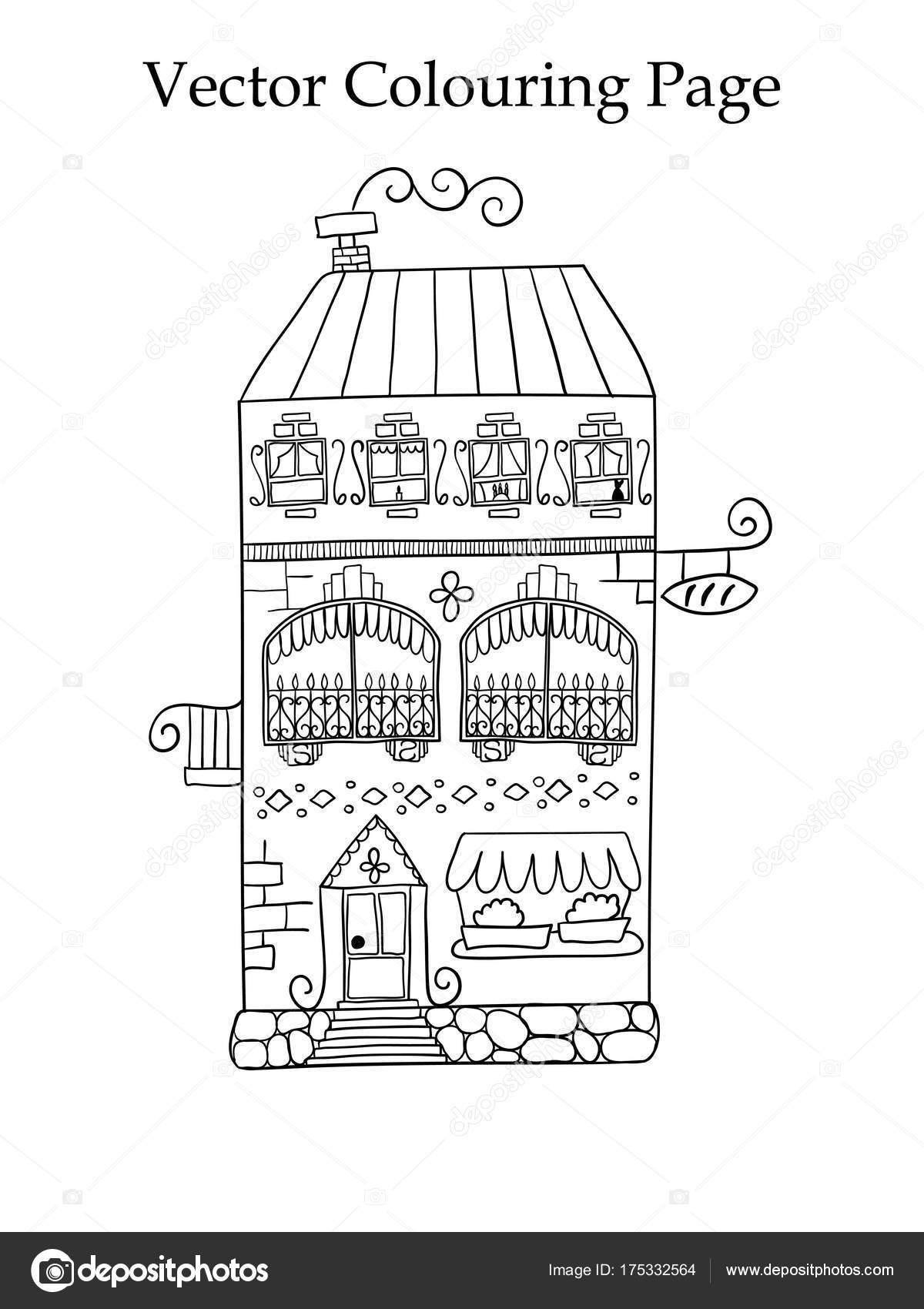 Bir Ev Boyama Sayfası Stok Vektör Makarovaalex 175332564