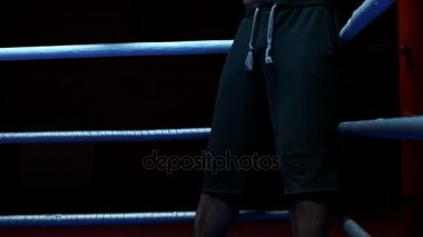 Professional kickboxer in the training ring