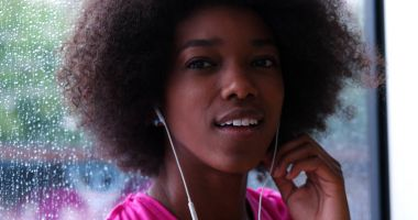 Portrait of young afro american woman in gym