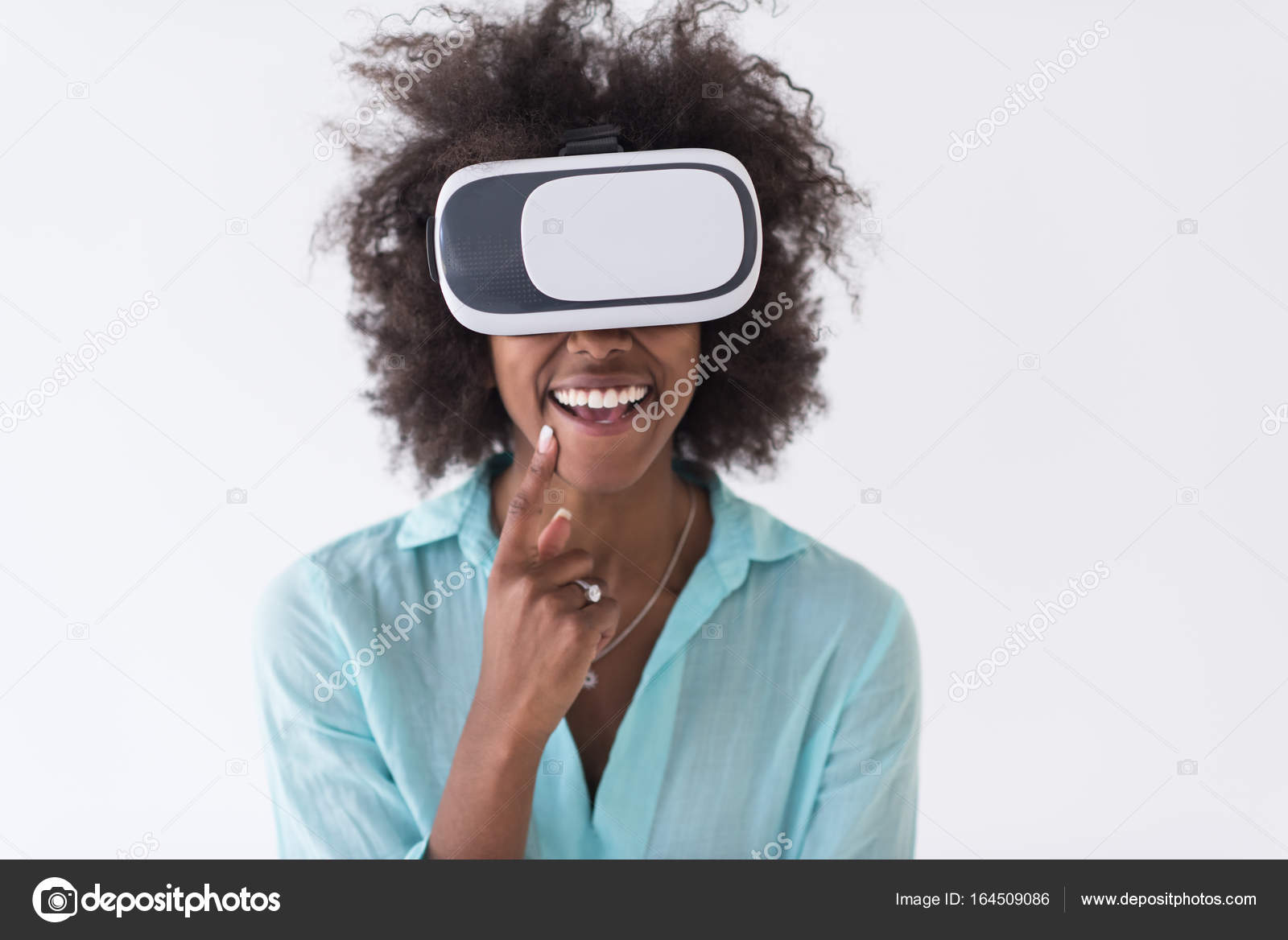 9cbe3baf6f3c Happy african american girl getting experience using VR headset glasses of virtual  reality