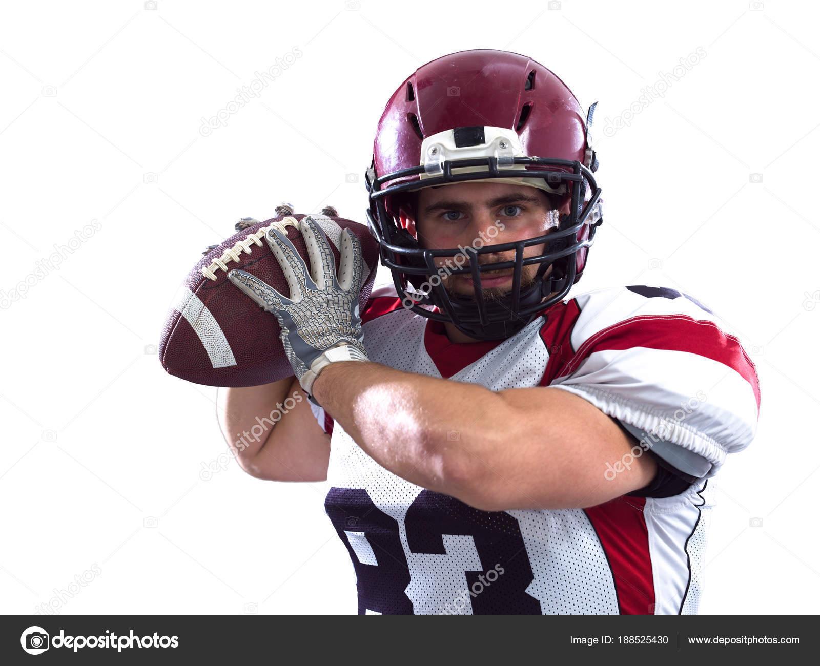 3ab0585a3242d Bola arremesso de jogador de futebol americano — Fotografia de Stock