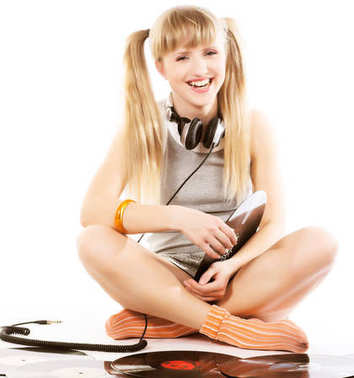 Pretty young girl  with vinyl records