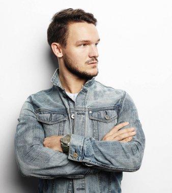 Elegant young handsome man. Studio fashion portrait. White background. stock vector