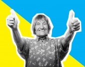 Fotografie Collage im Magazin-Stil - alte Frau ok Anzeichen auf bunten Hintergrund
