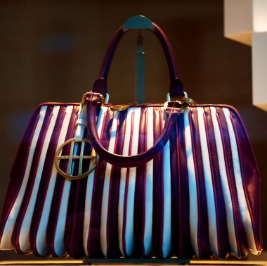 photo of a handbag exposed in a shop-window