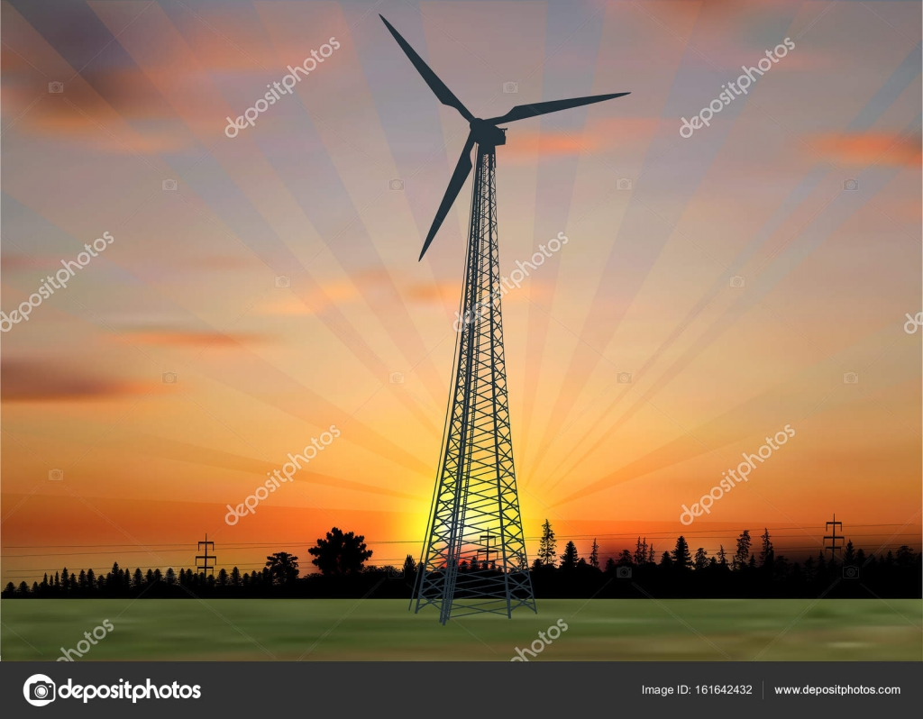 Wind power generator silhouette in country landscape — Stock Vector
