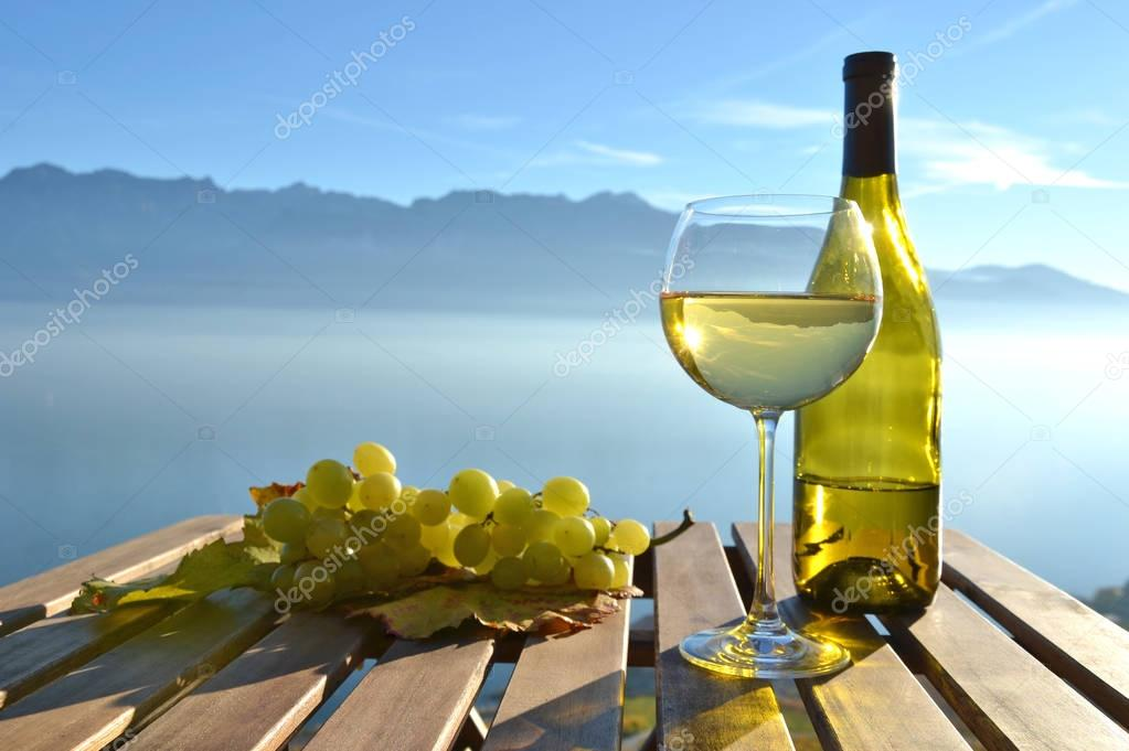 Wine and grapes against lake