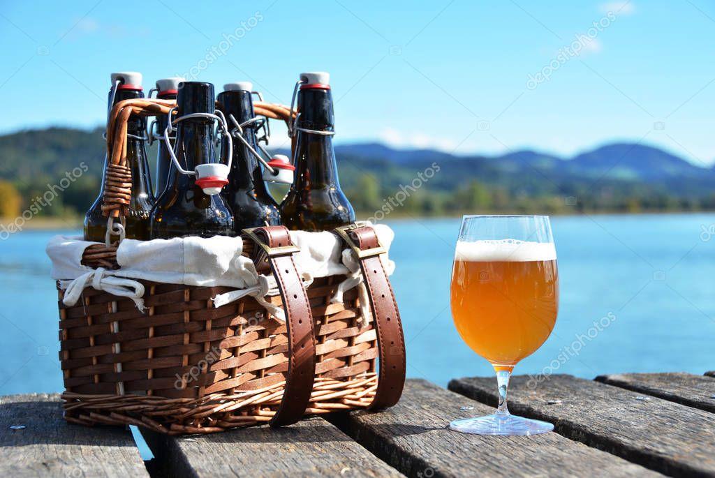 Beer bottles in vintage basket