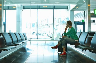 Girl sitting in airport