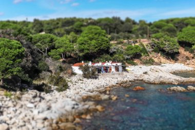 Tilt shift picture, beautiful detail of Costa Brava, Spain