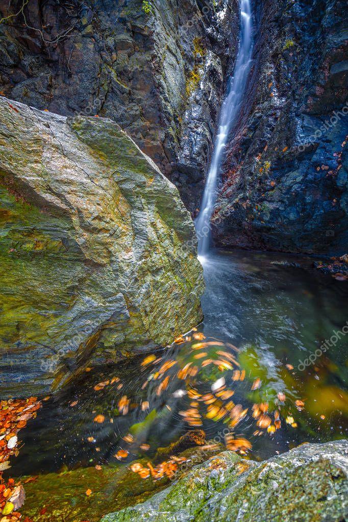 Beautiful veil waterfalls, mossy rocks, rotating leaves