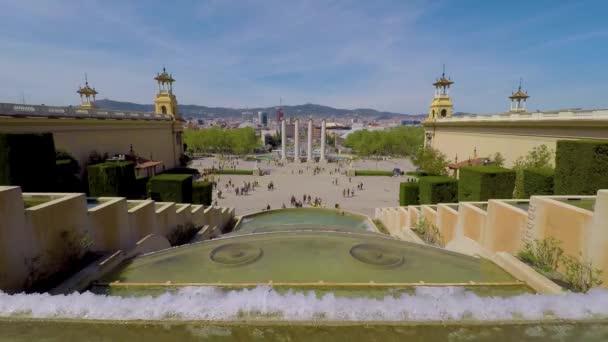 Městská krajina z náměstí Barcelony, Španělsko. 04. 15. 2018 Španělsko, Barcelona