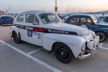 XV Rally Costa Brava Historic car race in a small town Palamos in Catalonia. 04. 19. 2018 Spain, town Palamos. stock vector