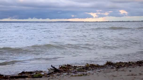 Slow motion waves on the lake Balaton in Hungary