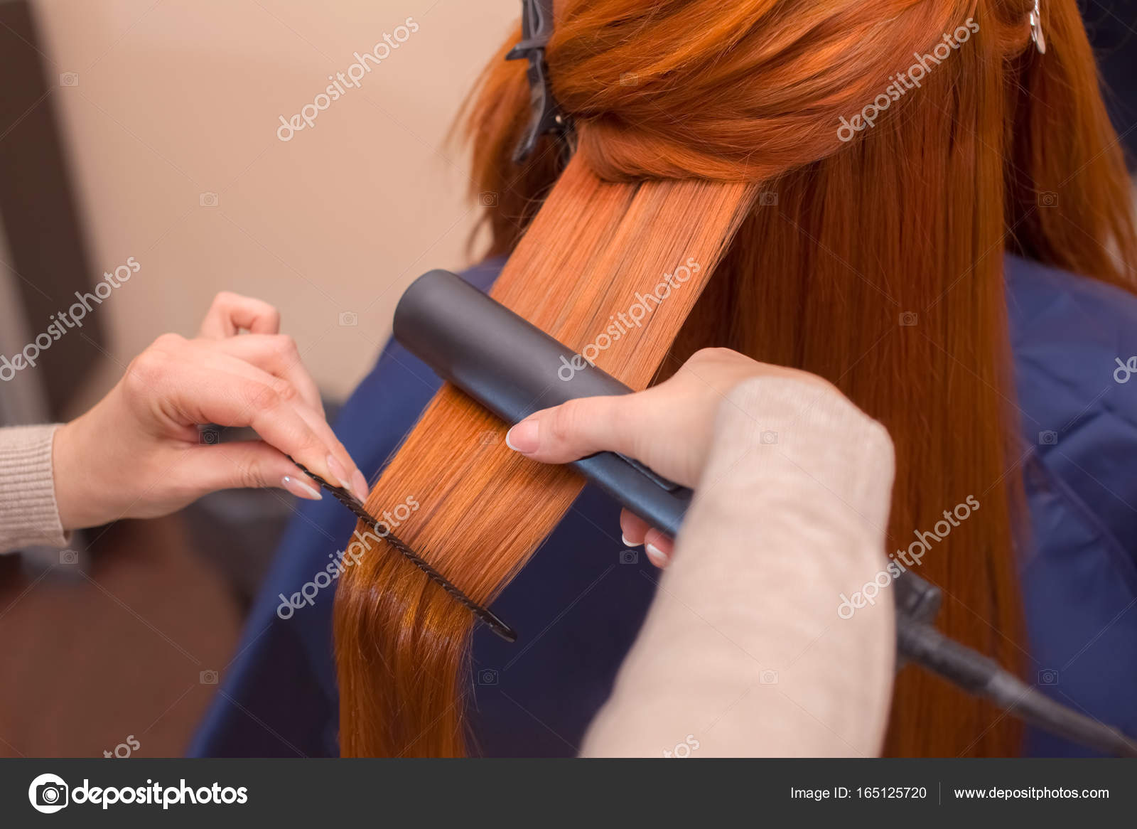 Hairdresser Makes Hairstyle Girl With Long Red Hair In A Beauty