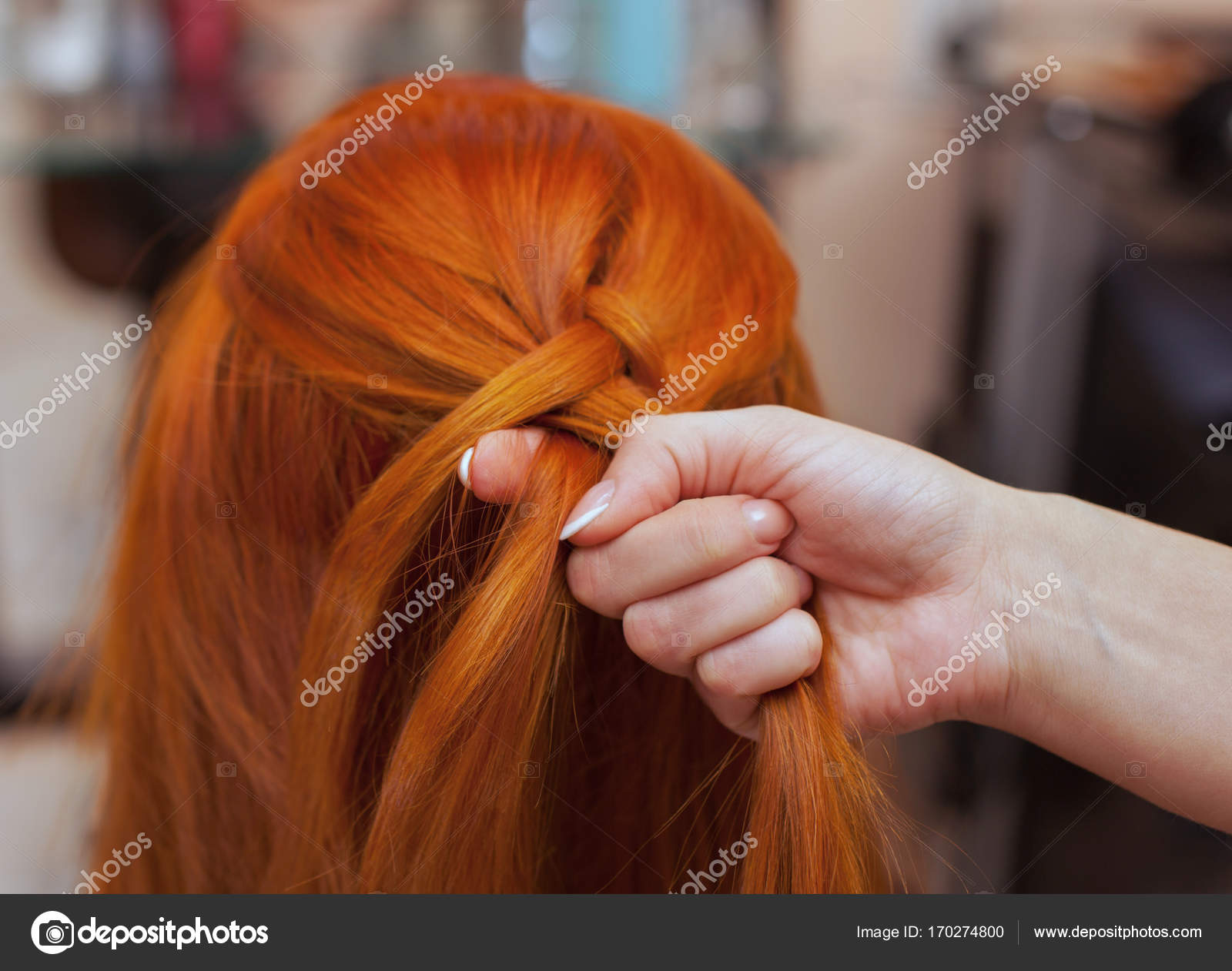 Beautiful Girl With Red Long Hair Hairdresser Weaves A French Braid