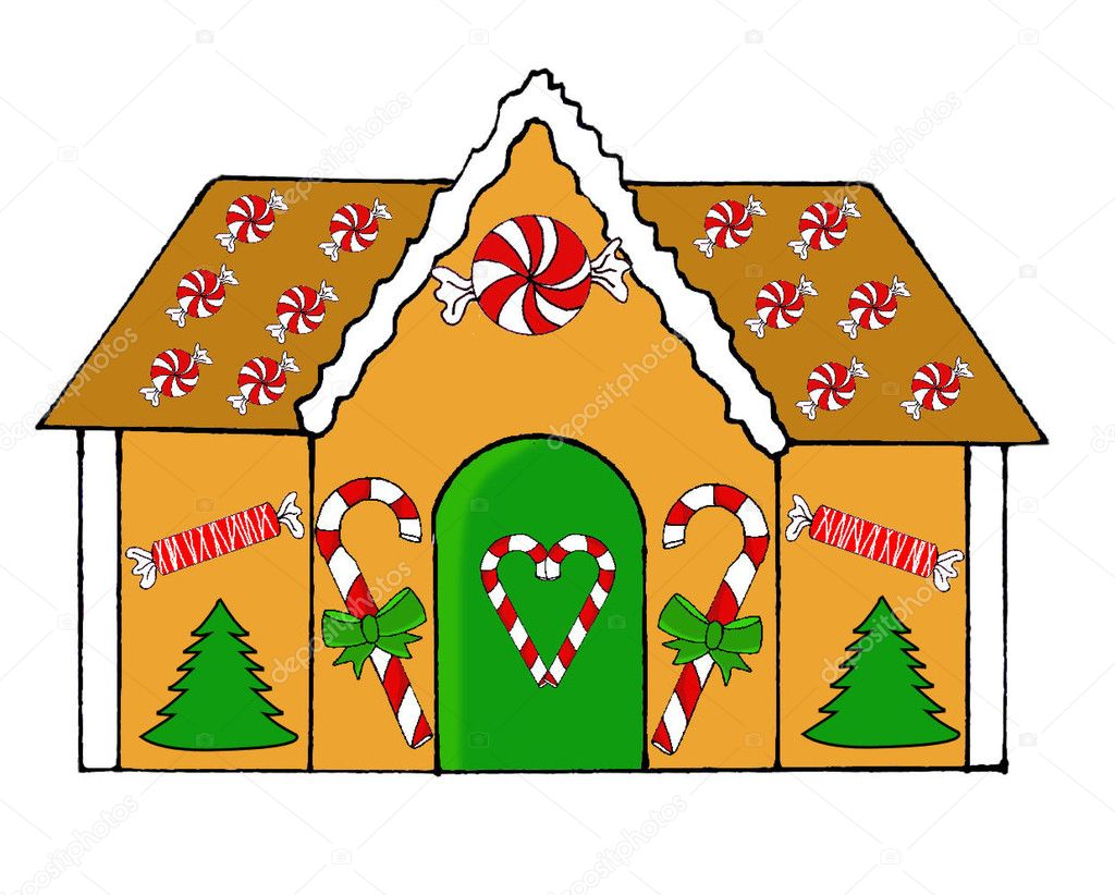 Christmas Gingerbread House Drawing.Gingerbread House Drawing Stock Photo C Portosabbia 128420506