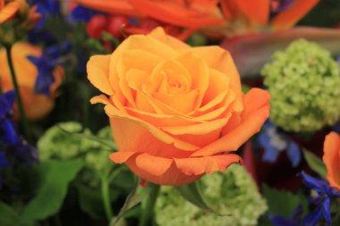 """Картина, постер, плакат, фотообои """"большая оранжевая роза в свадебном оформлении постеры цветы картины сирень города лилии"""", артикул 193951768"""