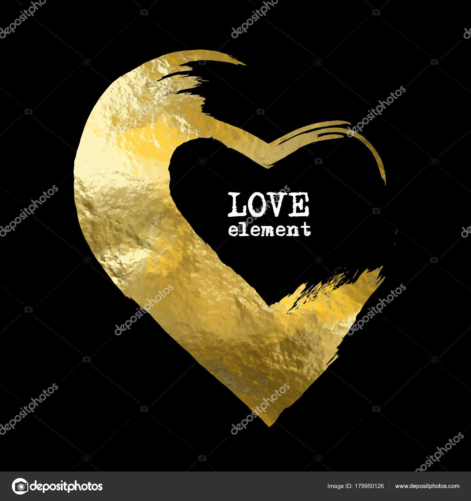 Heart Gold Foil Glitter Vector Hand Drawn Icon Black Background