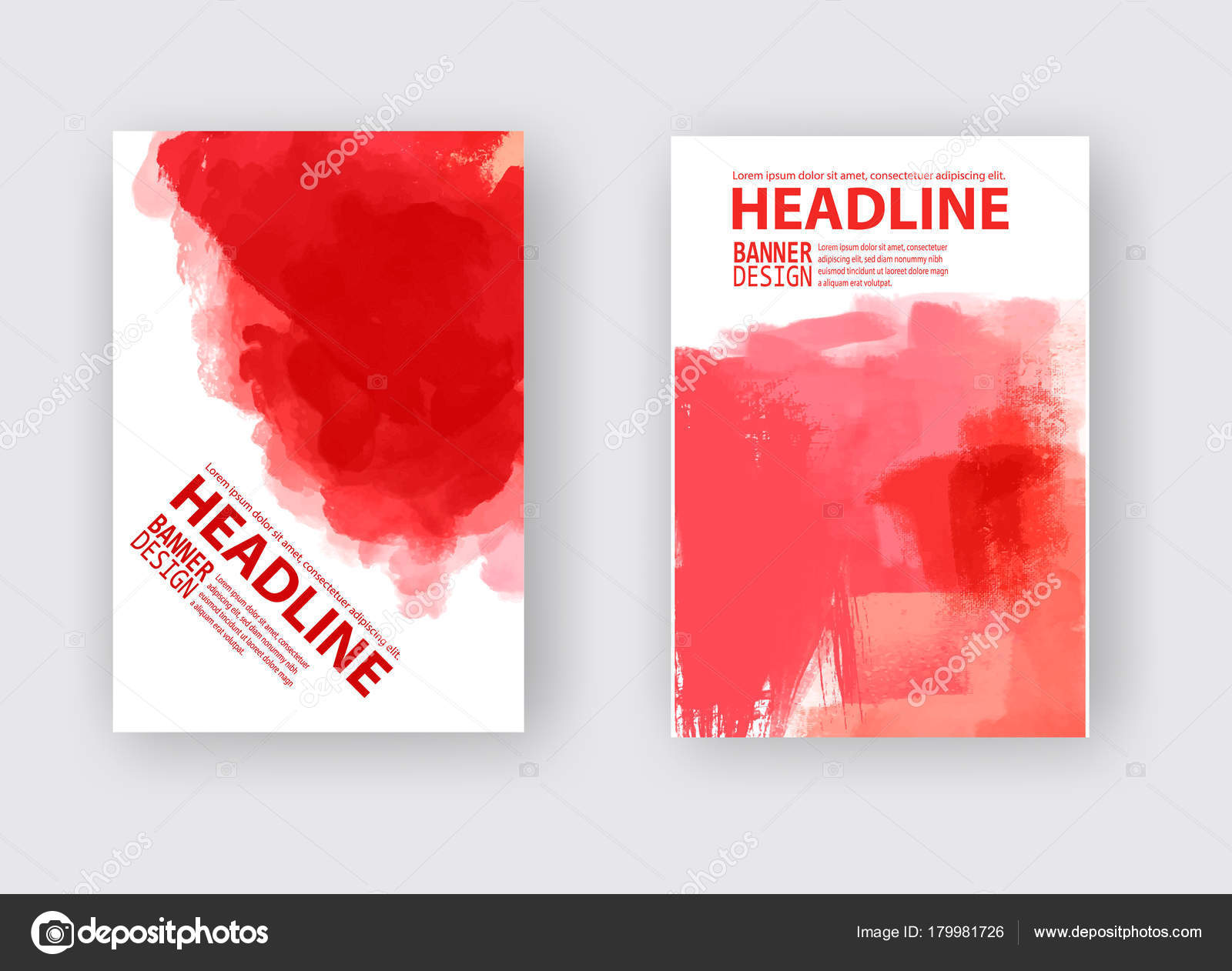 Vector Set Red Brush Strokes Poster Grunge Isolated Elements