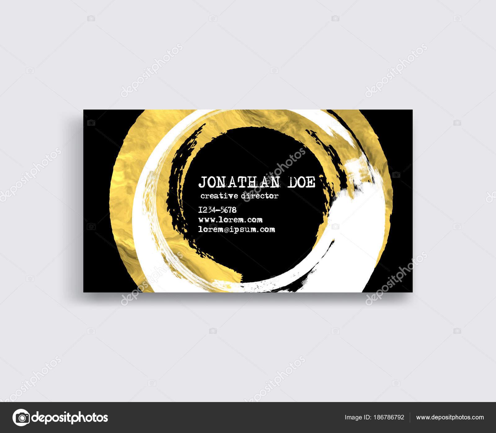 Schwarz Weiß Und Gold Visitenkarte Vorlage Stockvektor