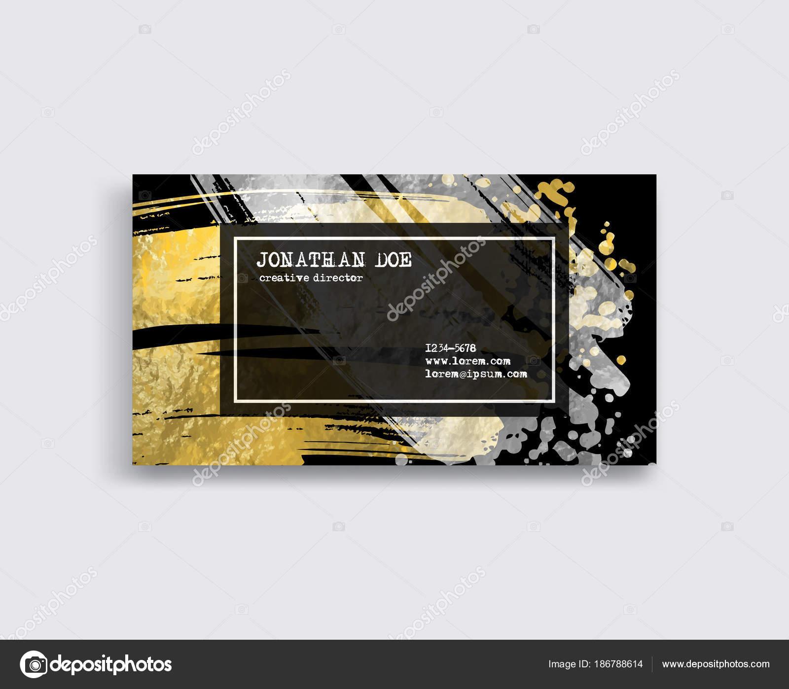Schwarz Silber Und Gold Visitenkarte Vorlage Stockvektor