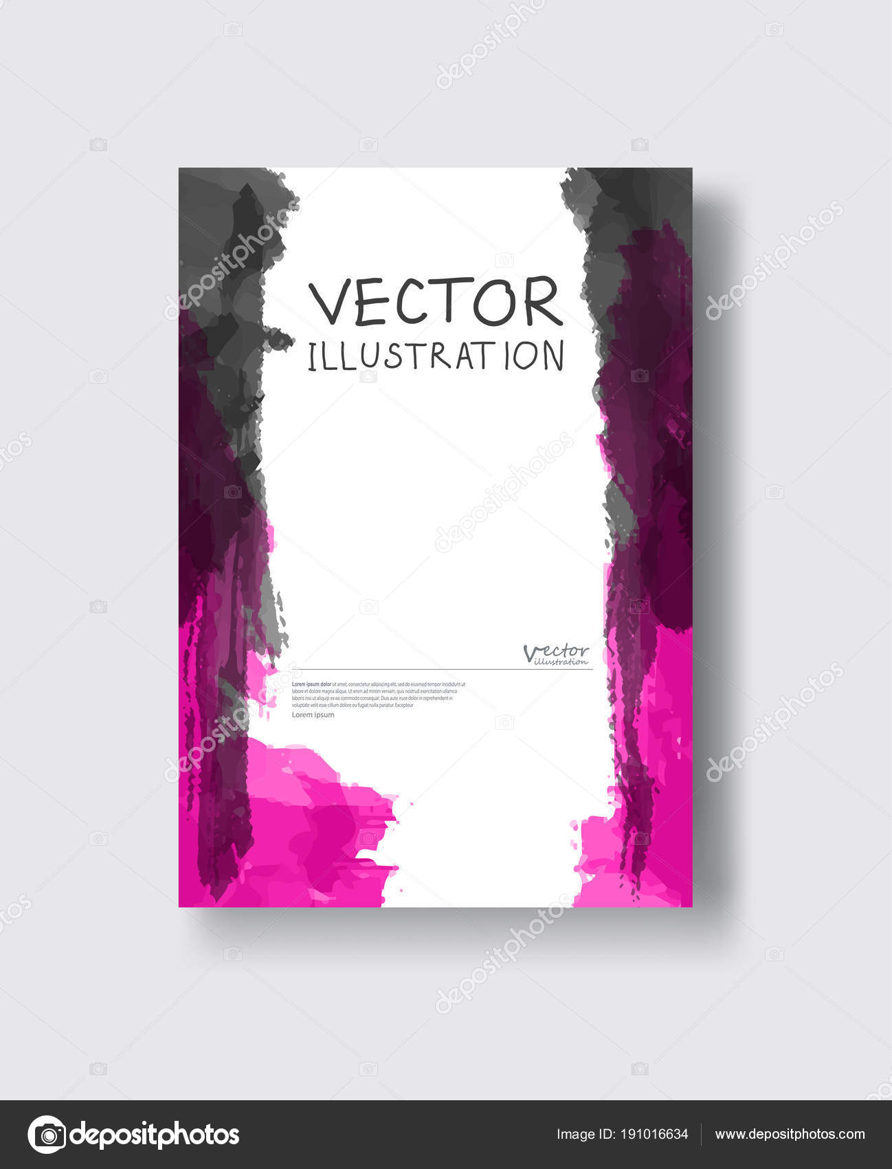 Elegant Brochure Template Design Ink Brush Element Stock Vector