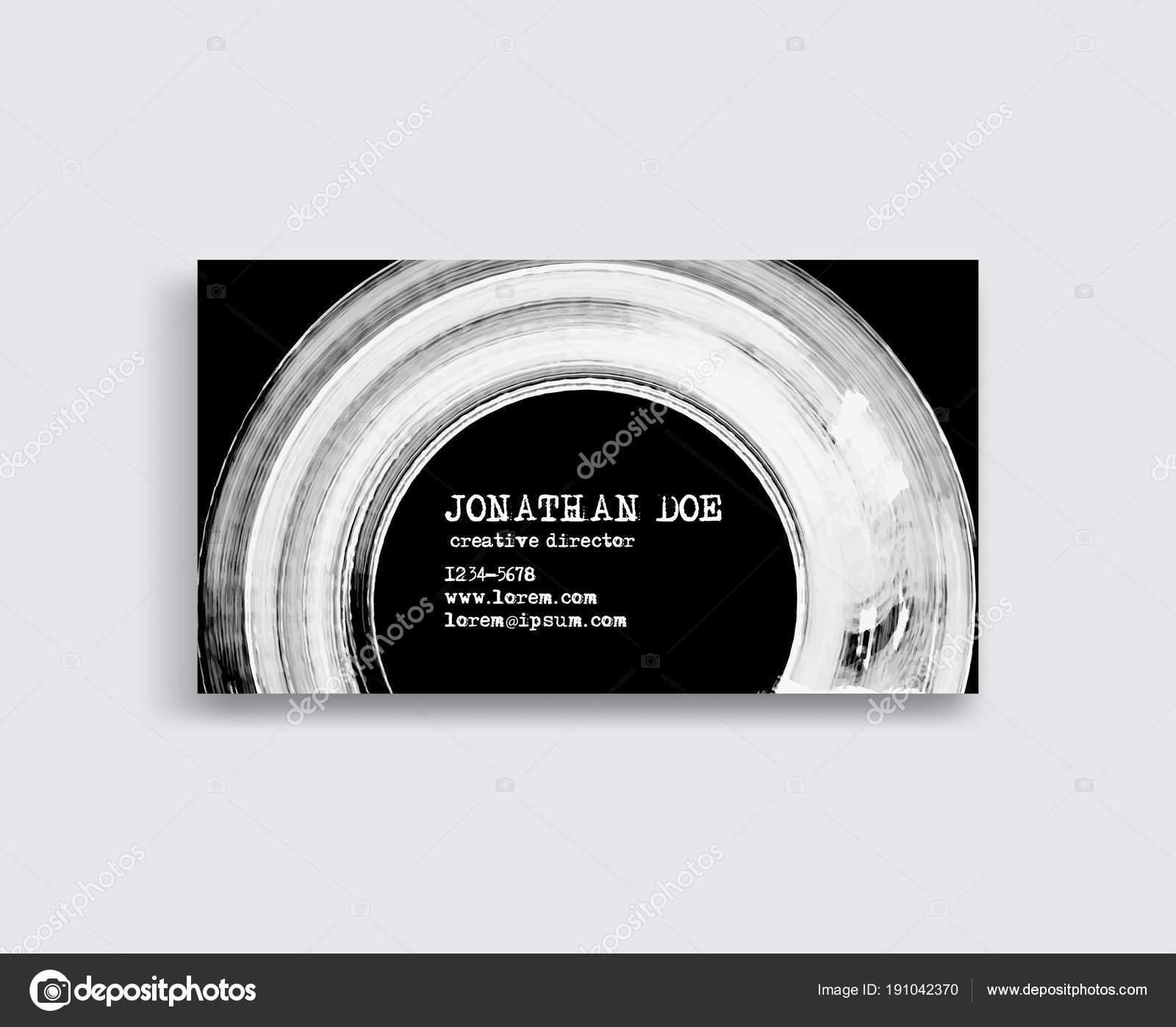 Modeles De Carte Visite Creative Avec Un Design Minimaliste Coups Pinceau Dencre Abstrait Blanc Illustration Vectorielle Stock