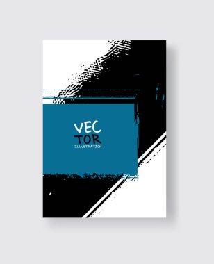 Black blue ink brush stroke on white background. Minimalistic style.