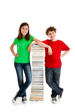 Students standing close to pile of books on white background