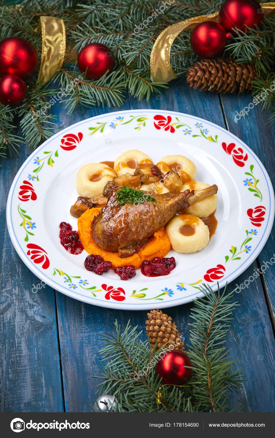 Roasted Turkey Leg Pumpkin Puree White Plate Christmas Decorations