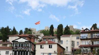 Samuel pevnost s makedonská vlajka Ohrid