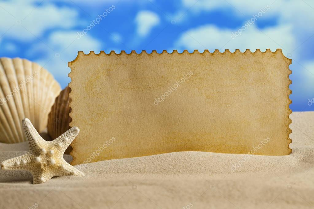 Summer background - blank paper sheet, shell and starfish on bea